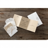 White and brown themed country style invitation featuring burlap ribbon