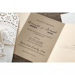 Three paged folded wedding invitation card in brown