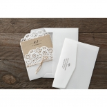 Two white invitation envelopes for the pocket rustic style wedding card