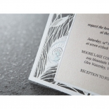 Laser cut peacock feather patterned rectangular invitation