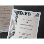 Flat layered bridal wedding invitation with laser cut peacock feathers
