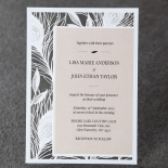 Rectangular invitation design with peacock and cream card