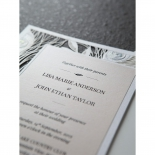 Peacock feathered layered announcement invitation