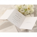 Traditional font and wedding text on white three fold insert