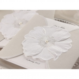 Pearl designed flower wedding card inside a traditional white pocket