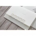 Floral wedding invitation with classic white sleeve