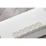 Cropped white letter fold style matte bridal card with die cut flowers on the sleeve