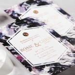 Mulberry Mozaic with Foil Invite Card Design