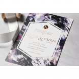 Mulberry Mozaic with Foil Wedding Invitation