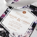 Mulberry Mozaic with Foil Invitation Design