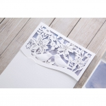 White textured laser cut bird pocket and water coloured inner card
