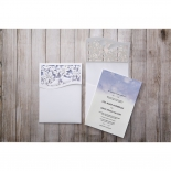 Nature inspired pocket invite with violet and white insert