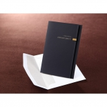 Folded navy announcement card design with foiling