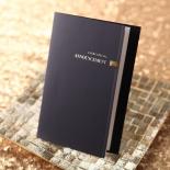 Folding navy formal invitation with bronze jewels, modern