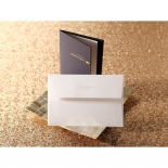 Textured envelope and navy blue pocket style wedding card