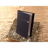 Booklet style wedding invitation with navy theme and bronze embellishment