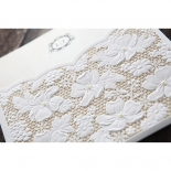 Shimmer covered cream invitation card with white floral pocket
