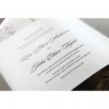 Unfolded cream invitation card with black classic wording