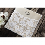 Die cut white wedding card pocket with skin tone inner paper
