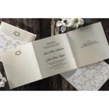 Mini pearl designed floral invitation with cream inner card