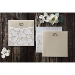Classic white floral sleeve featuring  tri fold invitation card with initials