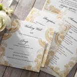 Prosperous Golden Pocket Wedding Invitation Design
