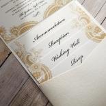 Prosperous Golden Pocket Wedding Invitation Card Design