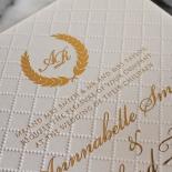 Quilted Letterpress Elegance Wedding Invitation
