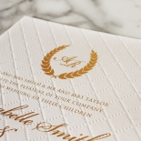 Quilted Letterpress Elegance Wedding Invite