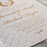 Quilted Letterpress Elegance Wedding Invitation Card