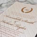 Quilted Letterpress Elegance Wedding Card