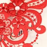 Red Lace Drop Wedding Invite Card Design