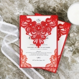 Red Lace Drop Wedding Invite Design