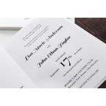Classic text on folded gold themed aisle designed wedding invitation
