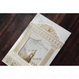 Digitally printed royal inspired gold wedding invitation