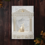 Wedding invitation designed with gold foiling and aisle cover