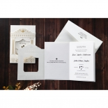 Gold and white themed royal invite with embossed, foil stamped and digital details