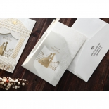 3D golden foiled wedding invitation with white and gold theme