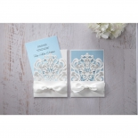 Two matching invitations with classical design with one pulled out insert