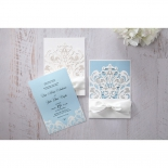 Blue and white themed invites both featuring baby blue inserts