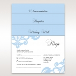 A wedding accessory set showcasing blue inserts and lace watermark patterns