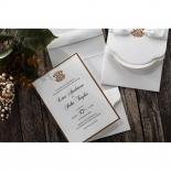 Raised ink wedding invite text on gold and white inner paper