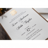 Wedding information on the vintage inspired invitation card with embossed golden symbol