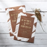 Rustic Brush Stroke with Foil Stationery design