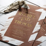 Rustic Brush Stroke with Foil Stationery card design