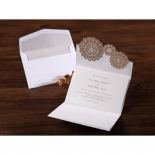 Envelope and a fully opened traditional lace themed invite in gold and white