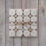 Burlap string accented rustic laser cut wedding invitation