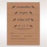 Brown wedding accessory cards matching rustic themed invite