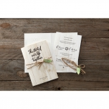 A couple of two rustic themed wedding invitations with strings