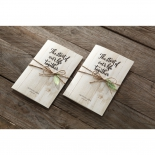 A pair of identical burlap stringed ribbon bridal cards